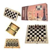 Juego De Mesa Ajedrez Damas Backgammon Madera 3 En 1 Viaje