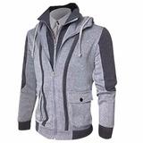 Chaqueta Gris Fashion Doble Cierre Jacket Casual Hombre Sli