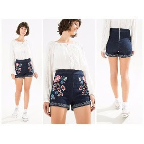 3b768ad1b Short Cintura Alta Tecido Farm - Shorts Jeans para Feminino no ...