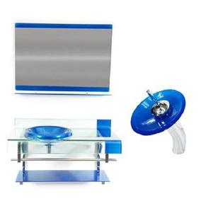 Gabinete Vidro 90cm Azul Para Banheiros E Torneira Cascata