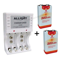 Kit Carregador Pilha Aaa Aa 9v + 2 Baterias Recarregável Mox