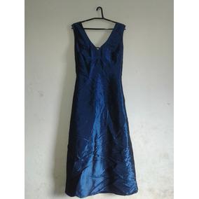 Vestido Azul Festa Tafetá Longuete Cód. V4