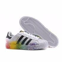 Tenis Adidas Superstar Foundation Colorido Original Couro
