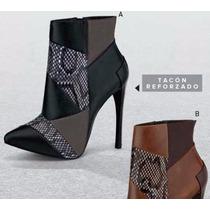 Bota Negra Botín Aguja Tacón Moderna Negro