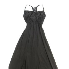 Vestido Largo Mujer Negro En Bambula Nuevo Talle S - M