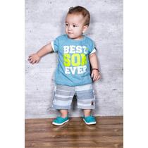 Conjunto Infantil Menino Com Blusa Em Malha E Bermuda Jeans