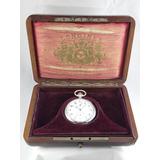 Reloj Bolsillo Longines,año 1910,cronofrafo,plata,estuche!!!