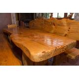 mesa comedor madera rustica completa 4 bancas madera - Mesa De Madera Rustica