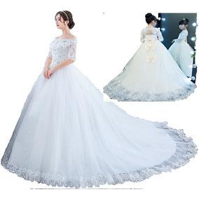 Vestido De Noiva Manga Curta Princesa + Vestido Para Daminha