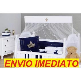 Kit Berço Bebê Menino Príncipe Coroa Azul Marinho Barato