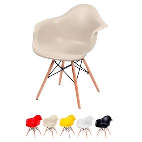 Cadeira Jantar Eames Base Madeira Com Braço Desenho Oferta!