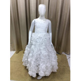 Vestido Princesa Branco Organza Saia Frufru Fio Prata Td-68