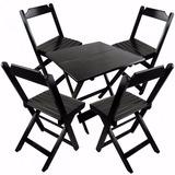 Jogos De Mesas Bar 80x80 Com 4 Cadeiras Dobrável Em Madeira