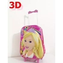 Mochila Escolar Infantil Com Rodinhas Barbie Princesa 3d