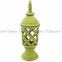 Potiche Cerâmica Verde Limão Design Vazado Imitando