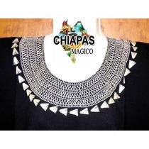 Hermosa Blusa De Chiapas Bordada A Mano / Talla 2xl / Negra