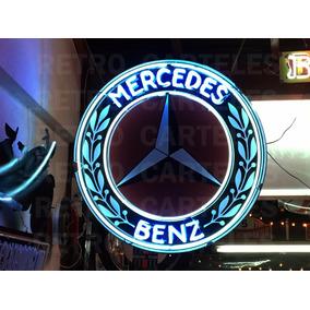 Cartel Neon Mercedes Benz Decoracion Retro Cartel Flecha