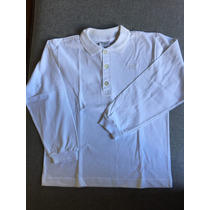 Camiseta Polo Infantil Branca - Manga Longa - Tyrol - Tam. 6