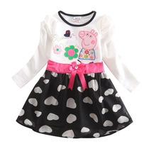 Vestido Infantil Malha Manga Longa Peppa
