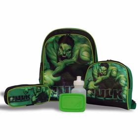 Kit Hulk Vingadores Mochila Escolar, Lancheira, Estojo