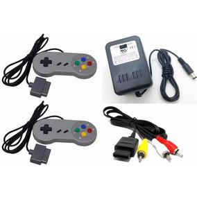 Kit Completo 2 Controle, Fonte, Cabo Av Super Nintendo Snes