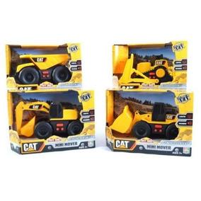 Kit 4 Cat Mini Mover Escavadeira Trator Caminhão Caterpillar