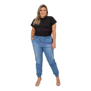 Calça Jeans Jogger Plus Size Moda Feminina Lycra Elastico