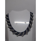 Collar Tejido Mostacillas Checas Azul Petroleo Con Perlas
