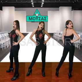 Jumpsuit Palazzo Dama Ropa Mujer Negro Bordado Envío Gratis