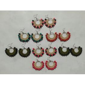 Lote De 7 Pares De Aros Tejidos A Crochet Mujer Verano