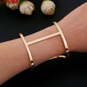Lindo Bracelete Pulseira Dourada Larga Vazada Fashion