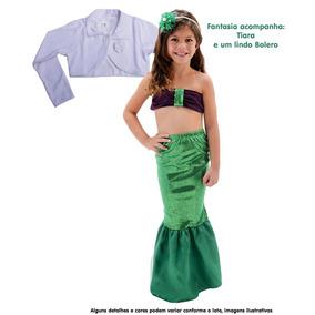 Lindo Vestido Infantil Sereia Ariel Festa Luxo Bolero Tiara