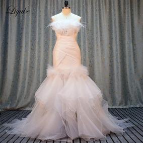 Vestido De Noivas 25170 Organza E Tule Sem Alças Sereia Luxo