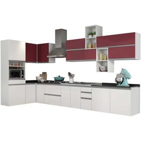 Cozinha Completa Clarice De Aço 04 Branco/vermelho Itatiaia