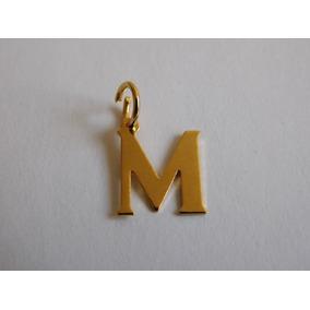 Dije De Inicial Letra M Chapa De Oro 14k Tamaño 1.5 Cm