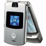 Motorola V3 Razr Silver Flip Celular Bom De Sinal De Vitrine