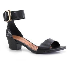Sandália Ramarim Salto Baixo Com Fivela - Vanda Calçados