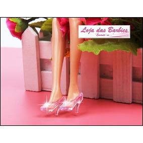 Sapatinho De Cristal Da Cinderela Para Boneca Barbie