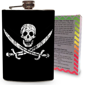Pirate Jolly Roger Flag Flask Stainless Steel 8oz Silver Met