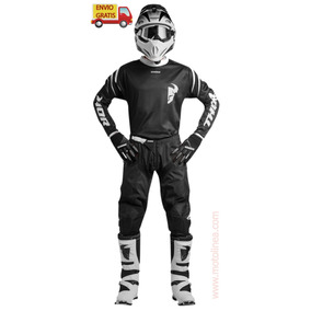 Combo Thor Pantalon, Jersey Y Guantes Motocross Enduro Negro