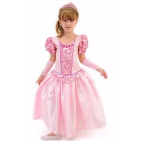 Vestido Fantasia Bela Adormecida Princesa Aurora Luva Coroa