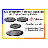 Kit Completo 4 Bocas Espalhador Do Fogão Cooktop Fisher