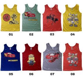 32a14220d9b0f Kit 10 Camisetas Regatas Infantil Desenho Animado