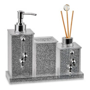 Kit Saboneteira Lavabo Banheiro Acrílico Glitter Prata