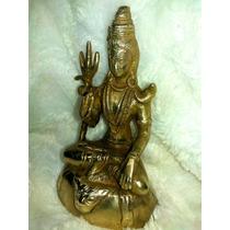Estátua Imagem Deus Indiano Hindu Indra Sentado Bronze