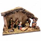 Pesebre De Madera Con 10 Figuras Musgo Decorado Navidad