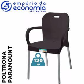Poltrona Cadeira Plástica Pés Alumínio Paramount A Vista
