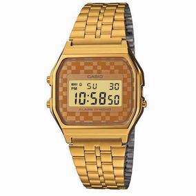 2b9157204ae Relógio Casio Dourado Calendário Alarme A159wgea 9adf - Relógios De ...