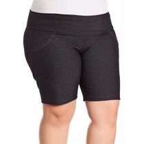 Bermuda Shorts Plus Size Gorgurão Tecido Disfarça Celulite