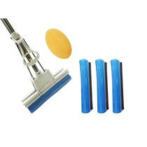 Rodo Magico De Limpeza Espuma Azul Com 3 Refis Extras